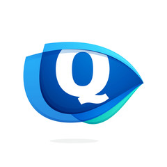 Q letter logo with blue wing or eye.