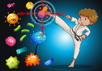 Man in karate uniform kicking bacteria