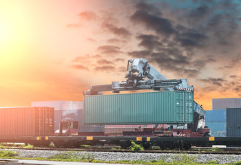 Fototapete - Industrial Container Cargo freight ship with working crane bridge in shipyard at dusk for Logistic Import Export background