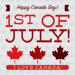 Flat typography Canada Day card in vector format.