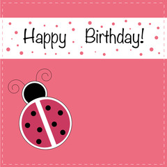 Ladubug Happy Birthday Invitation