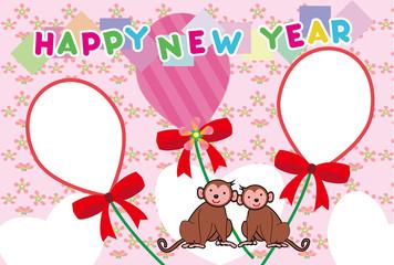 可愛い猿のピンク色の年賀状テンプレート