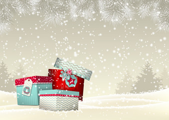Christmas background with group of colorful giftboxes