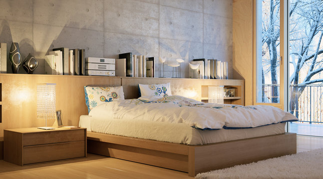 Hotelzimmer im Winter - hotel bedroom in winter landscape