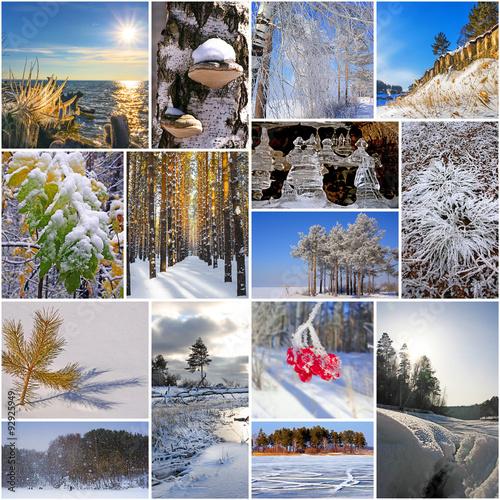 Коллажи с зимней природой для фотографий онлайн