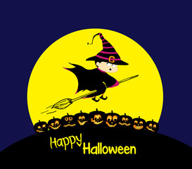 Flying cartoon witch and pumpkin. Big moon. Happy Halloween card