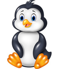 Cartoon funny penguin sitting isolated on white background