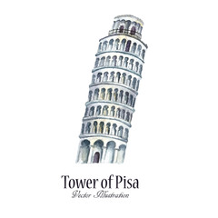 Watercolor tower of Pisa.