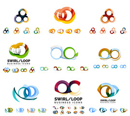 Set of company logotype branding designs, swirl infinity loop