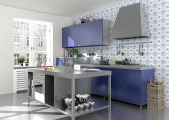 Blau weiße nostalgische Holzküche im Landhausstil