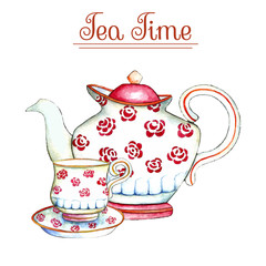 Watercolor teapot and cup.