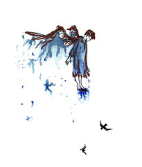 Looking down angel on a cloud black and copper drawing on a blue watercolor splash background.