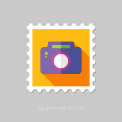 Photo Camera flat stamp with long shadow