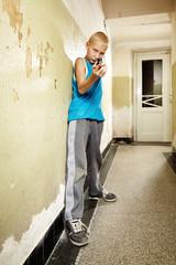 Teenager aiming derringer