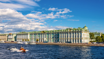 View of the Winter Palace with the Neva river in Saint Petersbur
