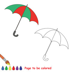 Trace game. Umbrella to be colored.