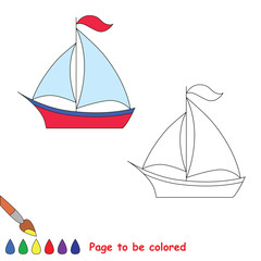Trace game. Vector boat to be colored.