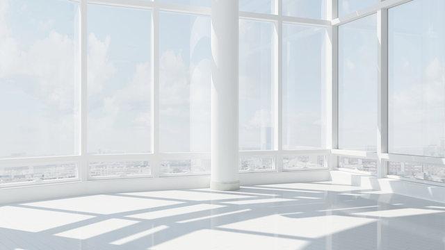 Leeres Büro mit vielen Fenstern