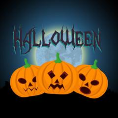 3 Halloween pumpkins with blue moon