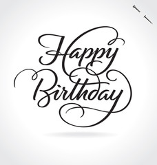 HAPPY BIRTHDAY hand lettering  -- original handmade calligraphy (vector)
