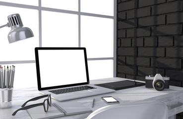 3D illustration laptop and work stuff on table near brick wall
