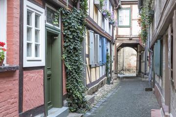 Historische Gasse in Quedlinburg, Harz