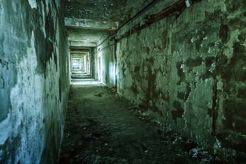 Old ruined building interior
