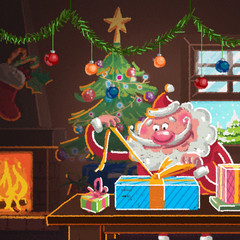 Interior scene of cartoon Santa Claus wrapping gifts for Xmas