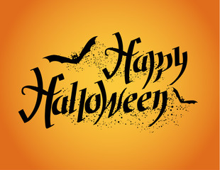 Happy Halloween. Halloween poster with hand lettering and bat