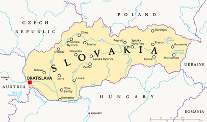 Slovakia political map with capital Bratislava, national borders, important cities, rivers and lakes. English labeling and scaling. Illustration.