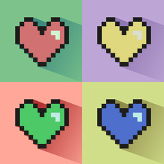 Pixelated hearts seamless vector pattern.