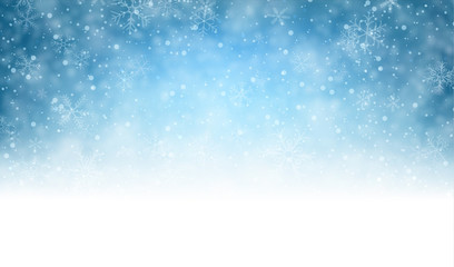 Christmas blue background with snow. Wall mural