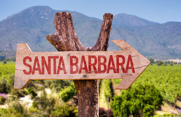 Santa Barbara wooden sign with winery background