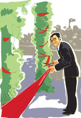 Cutting a red ribbon, opening ceremony. Vector
