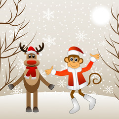 Deer and monkey