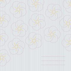 Traditional japanese embroidery. Sashiko. Sakura.