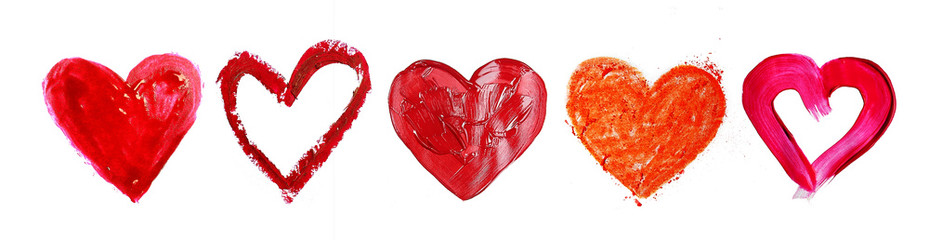 Collage of painted heart isolated on white