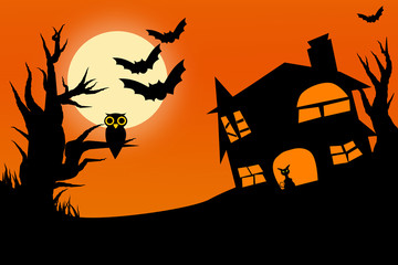 Illustration of horror halloween night with twilight sky full moon owl on tree and cat in castle