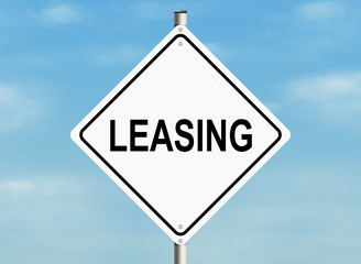 Leasing. Road sign on the sky background. Raster illustration.