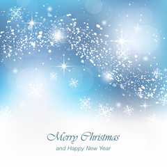 Christmas greeting card with snowfall, flakes and glowing effect