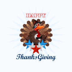 Happy Thanksgiving, message and cartoon turkey wearing a farmer hat and bow-tie; Holidays, layout, template with Thanksgiving turkey and blue, white and red stars, large space for text