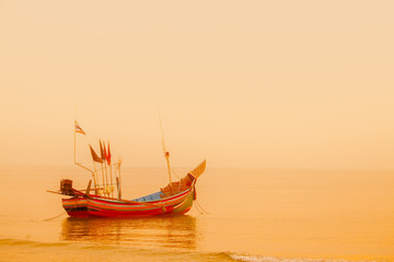 A traditional cormorant Traditional thai long tail boat at the F