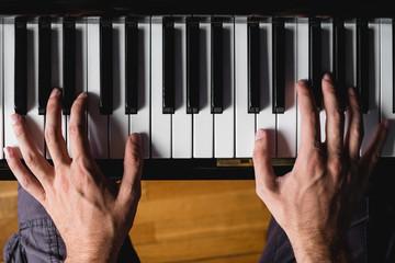 above piano keyboard