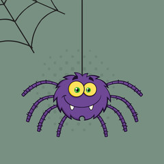 Smiling Purple Halloween Spider Cartoon Character On A Web With Text