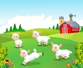 Cute cartoon sheep collection set with farm background