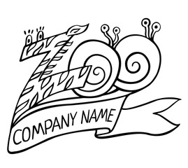 Zoo logo or label with ribbon and title 'Company name'