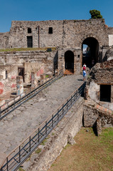 Fotomurales - External walls of famous antique ruins of Pompeii, Italy. Pompei