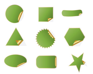 set of different shapes of blank sticker template