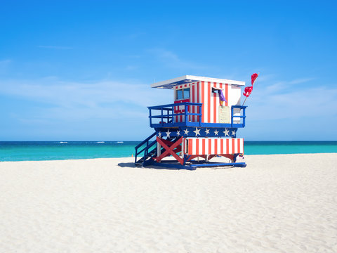Famous lifesaver hut at South Beach in Miami