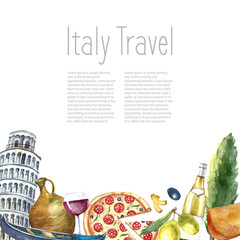 Set of Italy icons watercolor illustration.